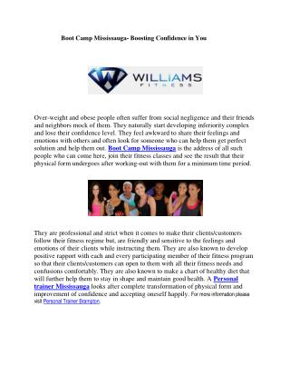 Boot Camp Mississauga- Boosting Confidence in You