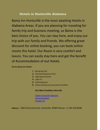 Hotel booking and rooms in Huntsville Alabama