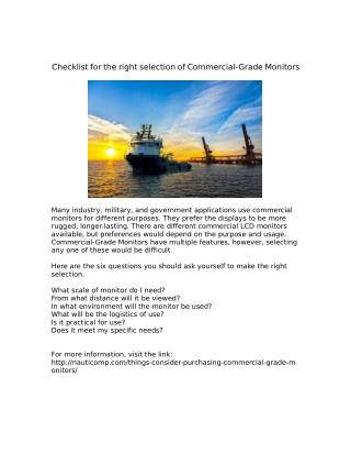 Checklist for the right selection of Commercial-Grade Monitors