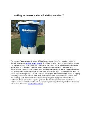 Looking for a new water aid station solution