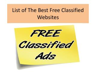 List of The Best Free Classified Websites