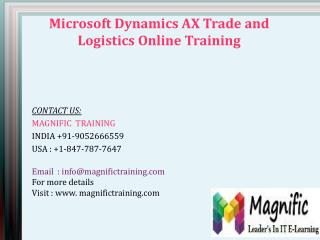 MICROSOFT DYNAMICS AX TRADE AND LOGISTICS online training in USA|UK
