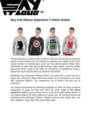 Buy Full Sleeve Superhero T-shirts Online