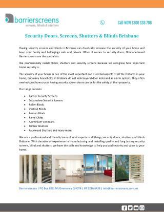 Security Doors, Screens, Shutters & Blinds Brisbane