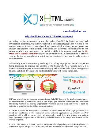 Why Should You Choose A CakePHP Developer?