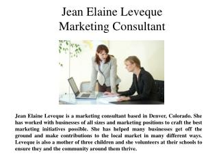 Jean Elaine Leveque- Marketing Consultant