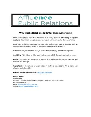 Why Public Relations Is Better Than Advertising