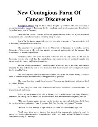 New Contagious Form Of Cancer Discovered