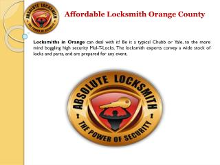 Affordable Locksmith In California Orange County