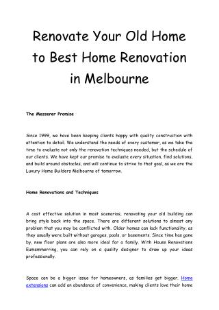 Renovate your home - Bathrrom renovations - Messerer Homes