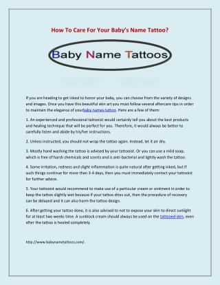 How To Care For Your Baby�s Name Tattoo?