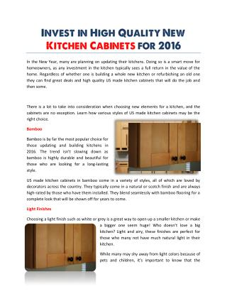 Invest in High Quality New Kitchen Cabinets for 2016