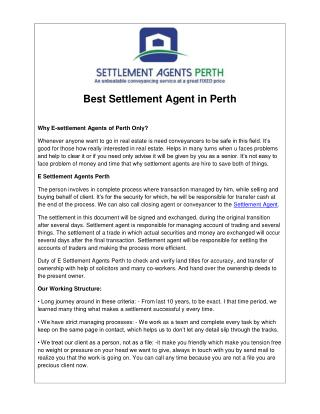 Best Settlement Agent in Perth