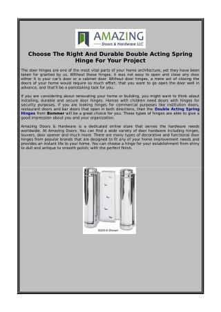 Choose The Right And Durable Double Acting Spring Hinge For Your Project