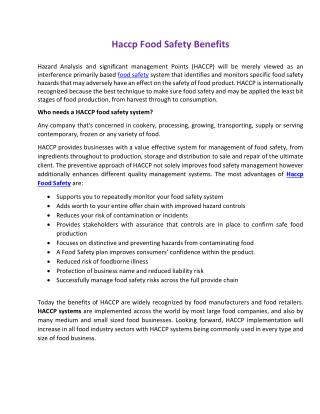 Haccp Food Safety Benefits