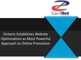 Ontario Establishes Website Optimization as Most Powerful Approach to Online Promotion