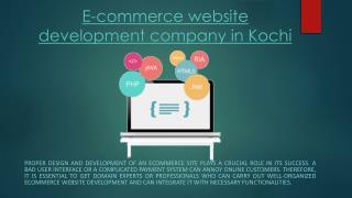 E-commerce website development company in Kochi