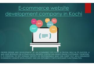 E-commerce website development company in Kochi