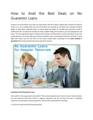 No guarantor Loans Available Online
