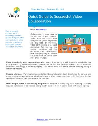 Quick Guide to Successful Video Collaboration | Vidyo
