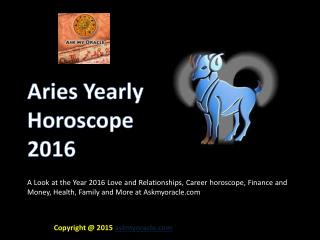Free Aries Yearly Horoscope 2016 Predictions