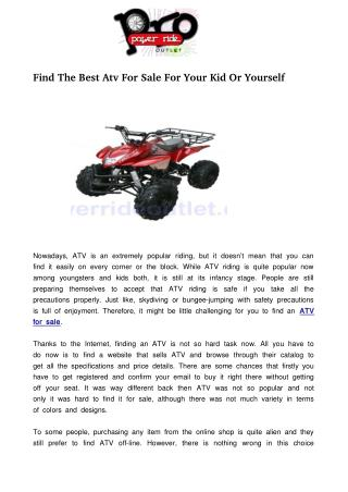 Find The Best Atv For Sale For Your Kid Or Yourself