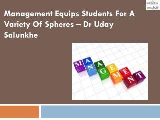 Management Equips Students For A Variety OF Spheres – Dr Uday Salunkhe