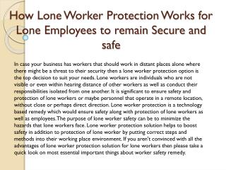 How Lone Worker Protection Works for Lone Employees to remain Secure and safe