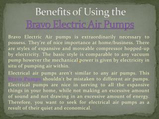 Benefits of Using the Bravo Electric Air Pumps