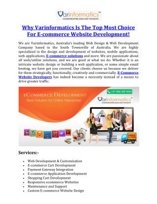Why Varinformatics Is The Top Most Choice For E-commerce Website Development!