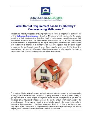 What Sort of Requirement can be Fulfilled by E Conveyancing Melbourne ?