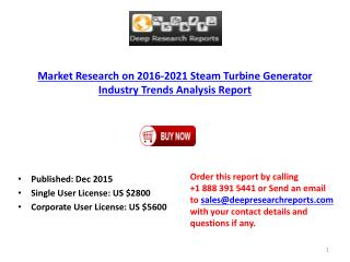 Steam Turbine Generator Market 2016-2021 Analysis, Trends and Forecasts