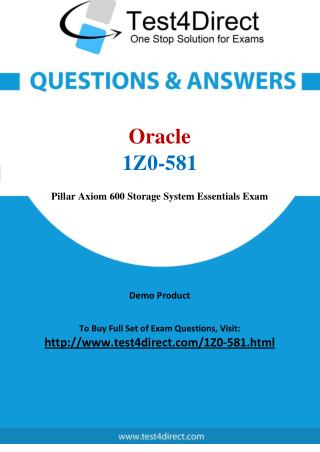 1Z0-581 Oracle Exam - Updated Questions