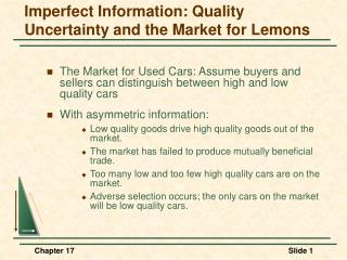 Imperfect Information: Quality Uncertainty and the Market for Lemons