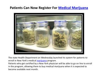 Patients Can Now Register For Medical Marijuana