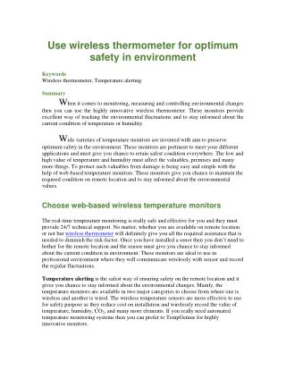 Use wireless thermometer for optimum safety in environment