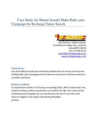 Case study for Maruti Suzuki Rath Yatra Campaign