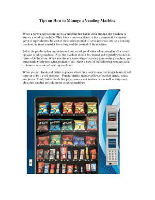 Tips on How to Manage a Vending Machine