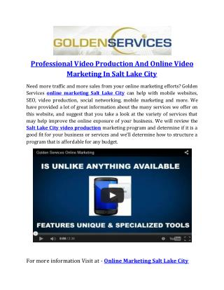 Professional Video Production And Online Video Marketing In Salt Lake City