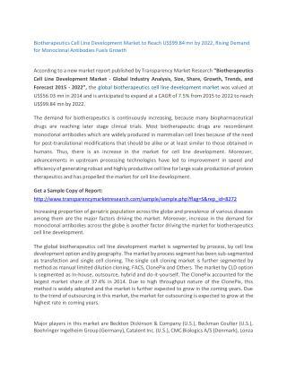 Biotherapeutics Cell Line Development Market