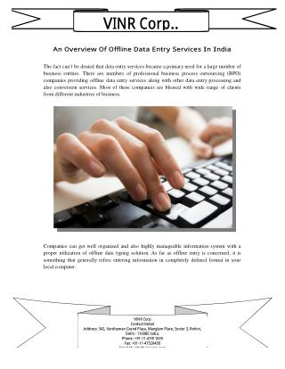 An Overview Of Offline Data Entry Services In India
