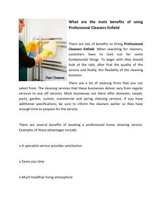 What are the main benefits of using Professional Cleaners Enfield
