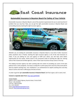 Automobile Insurance in Boynton Beach for Safety of Your Vehicle