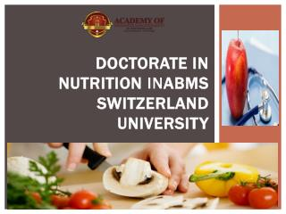 Doctorate in Nutrition INABMS SWITZERLAND UNIVERSITY