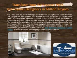 Transform Your Bathrooms With Bathrooms Designers in Milton Keynes