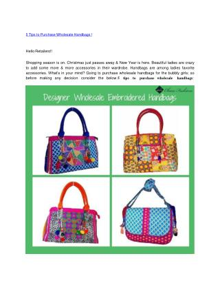 5 Tips to Purchase Wholesale Handbags !