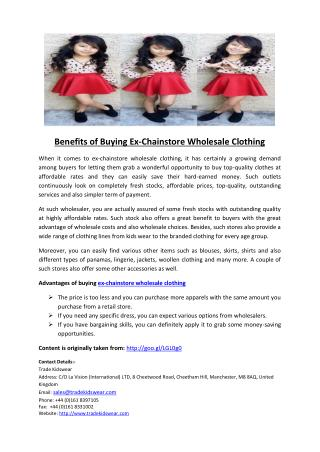 Benefits of Buying Ex-Chainstore Wholesale Clothing