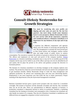 Consult Oleksiy Nesterenko for Growth Strategies