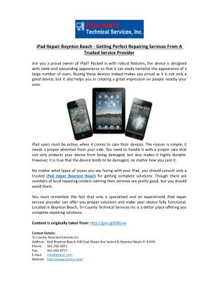 iPad Repair Boynton Beach - Getting Perfect Repairing Services From A Trusted Service Provider ��