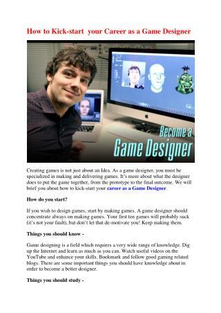 How to Kickstart your career as a Game Designer